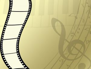 music and movies - movie film music notes in background