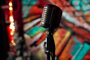 great vocal tracks - retro microphone on a stage