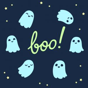 scariest non-scary songs - cute ghosts flying in a circle around boo