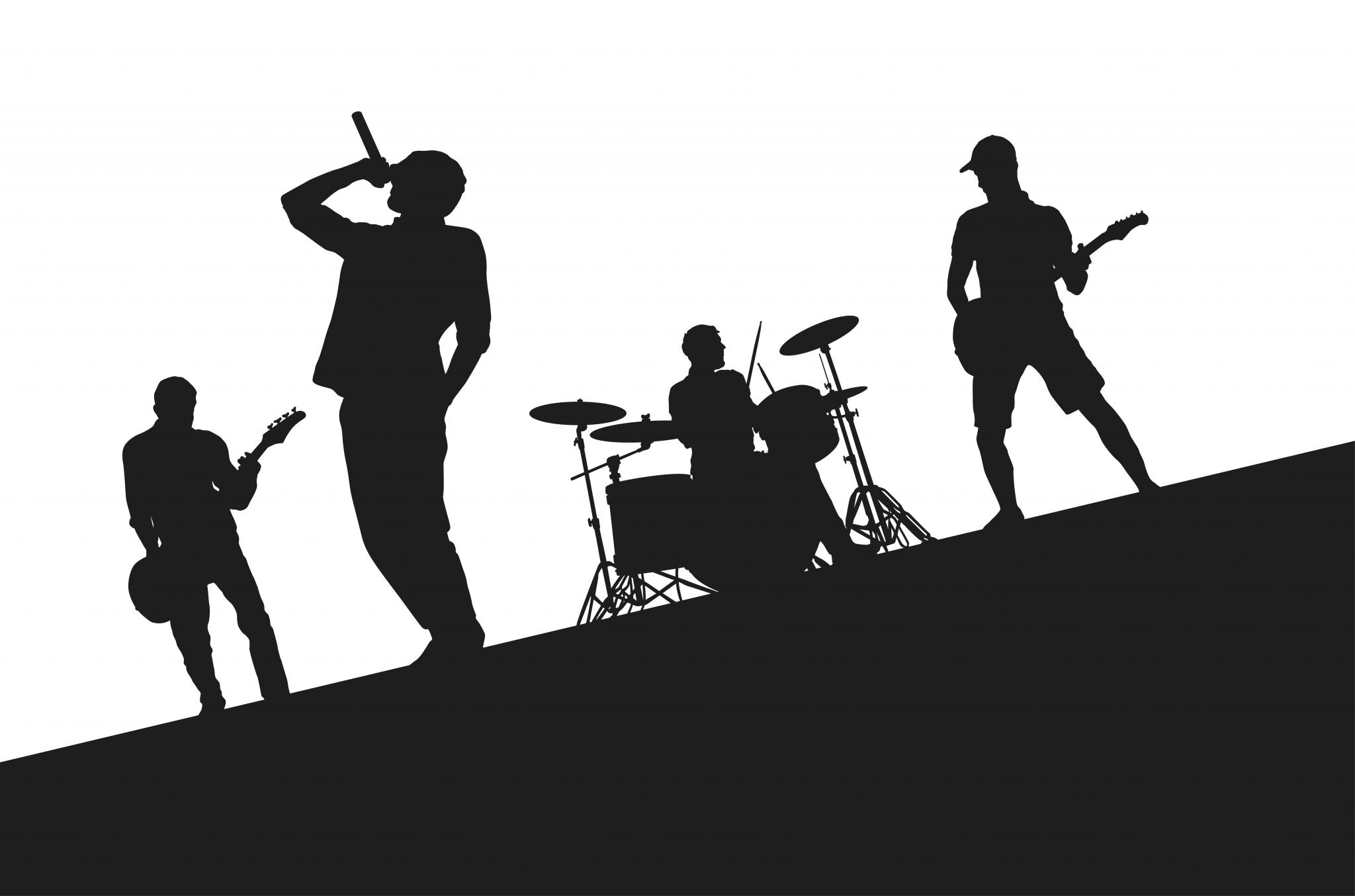 bands on the rise - silhouette of rock band on stage ...