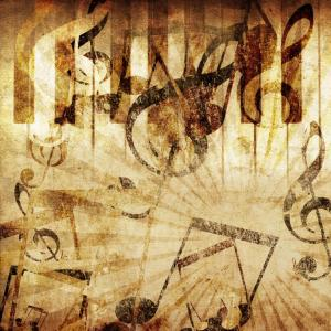 cover songs - music notes and symbolds on tan background