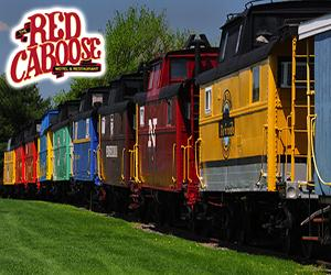 red caboose - line of multi-colored cabooses