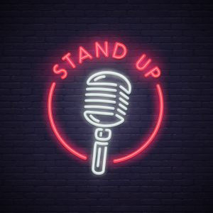 stand up comedy neon sign