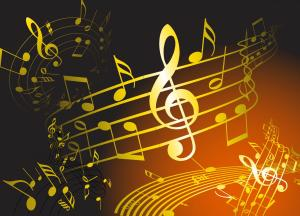 top music shows to see - gold music notes on dark background